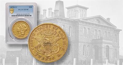 1870-CC Coronet gold $20 double eagle