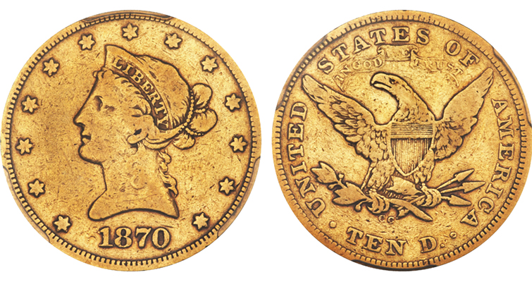 At Very Good 10, very rare 1870-CC Coronet gold $10 eagle brings $28,200: Market Analysis