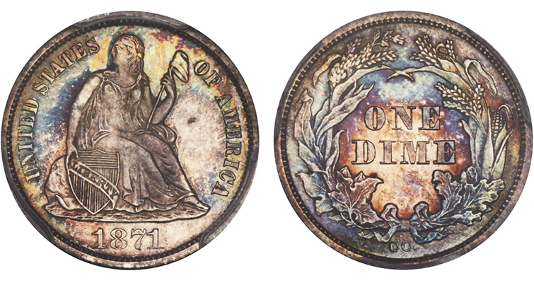 1871-CC Seated Liberty dime obverse and reverse