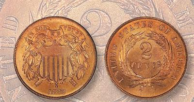 1872 two-cent coin