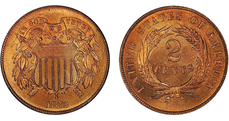 The 1872 two-cent coin