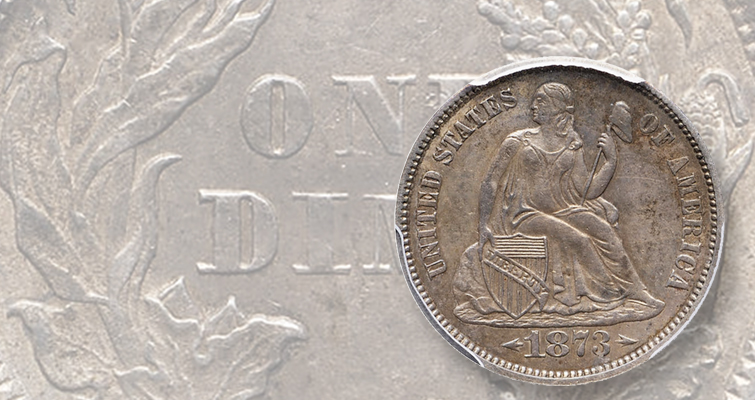 1873-CC Seated Liberty, Arrows dime for sale reflects change in law that altered silver content