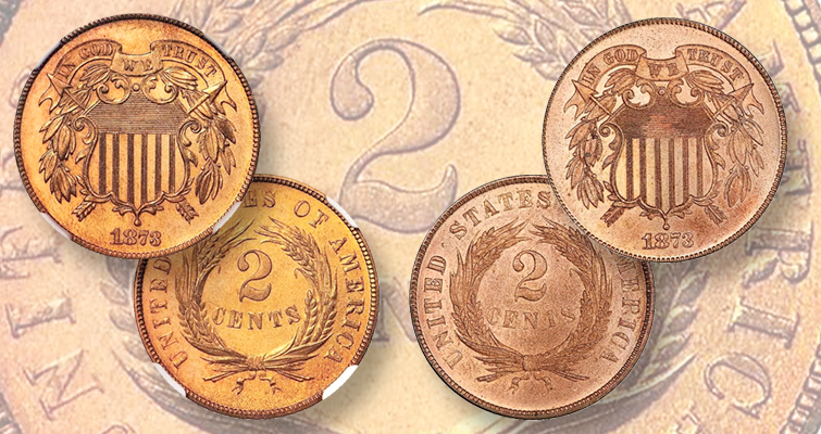 Two types of the number three can be found on 1873 two-cent coins.