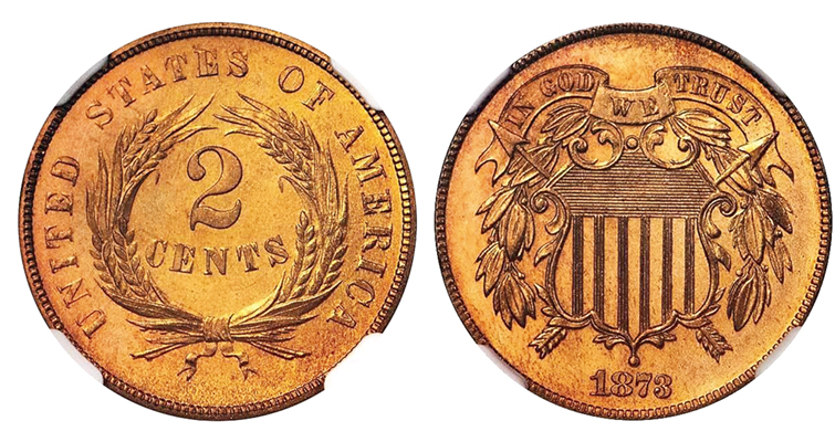 An example of a closed 3 on an 1873 2-cent coin.