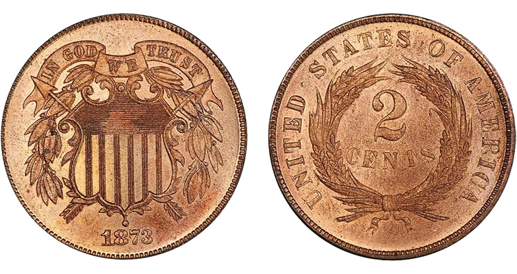An example of the open 3 in an 1873 two-cent coin