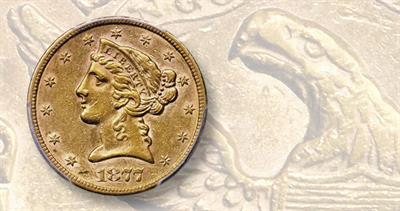 1877-CC gold $5 half eagle