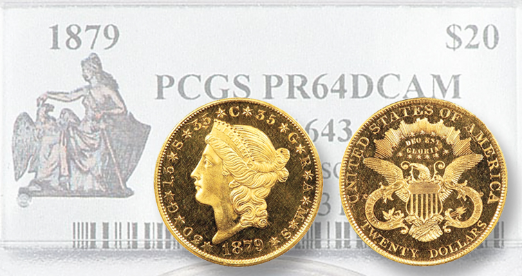 1879 Liberty Head gold double eagle pattern strong at Regency XVII Auction