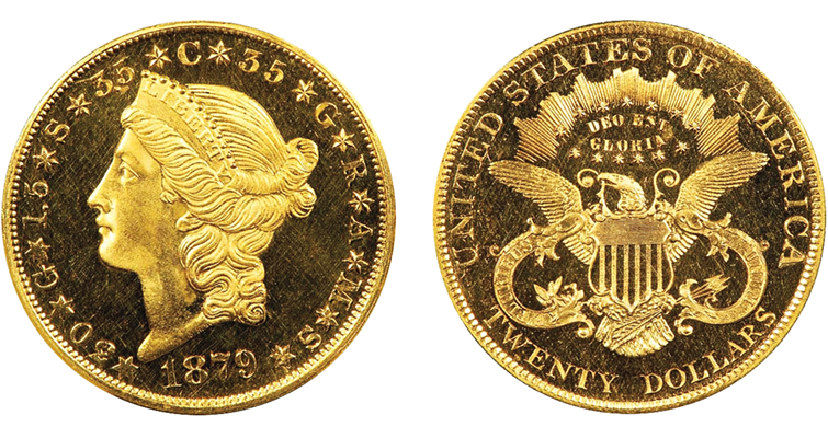 1879 Liberty Head $20 double eagle pattern