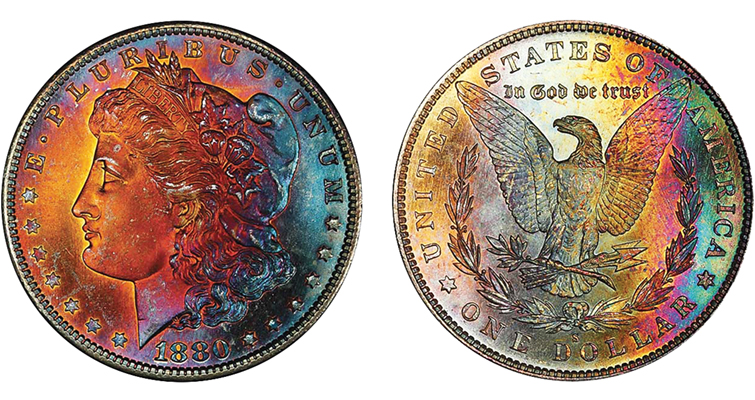 1880-S Morgan dollar with crazy colors