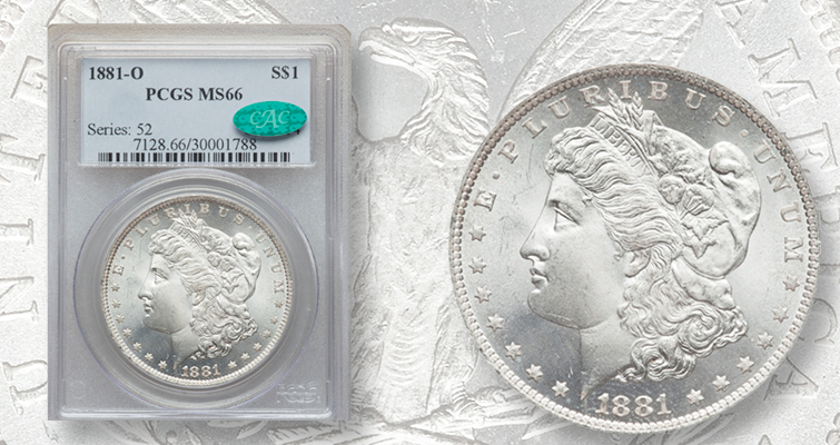 When thin at the top means attractive: MS-66 1881-O Morgan dollar