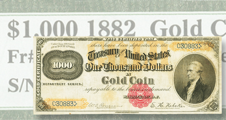 Rare $1,000 gold certificate soars at Heritage Auctions' FUN sale