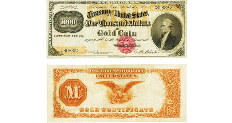 Rare thousand dollar gold certificate soars   Coin World