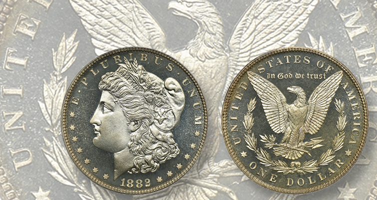 Proof 68 Cameo 1882 Morgan silver dollar