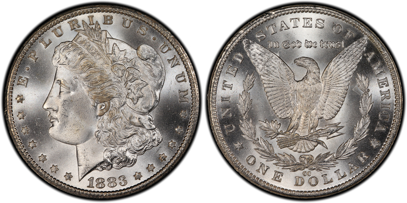An 1883-CC Morgan dollar like this, an MS-67 example, is among the purchases Coin World Facebook fans reported Monday.