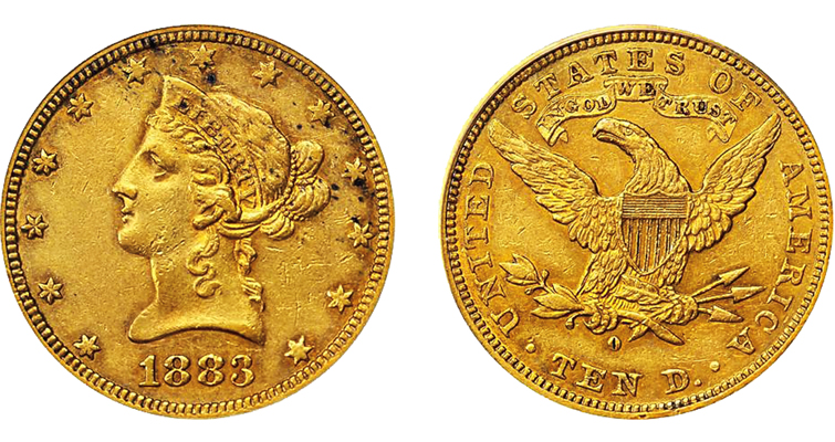 1883-o-coronet-gold-ten-dollar-eagle-obverse-reverse