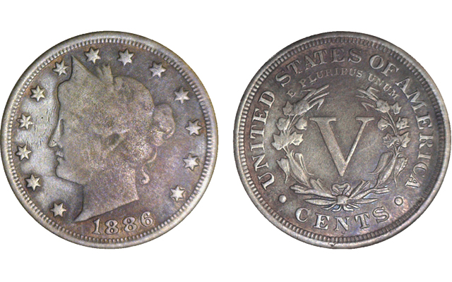 Counterfeiter fakes key-date 1886 Liberty Head 5-cent coin without using host coin