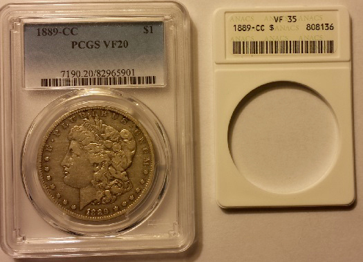 This ANACS Very Fine 35 1889-CC Morgan $1 crossed over at VF-20 when submitted to the Professional Coin Grading Service.