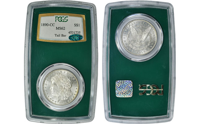 1890-CC Morgan dollar in Regency holder brings more than double coin's retail value