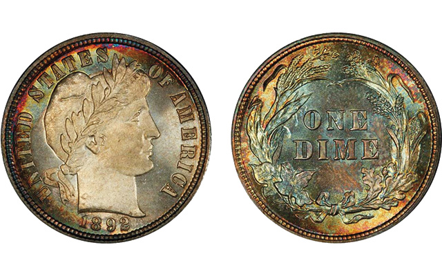 First-year Barber dime from 1892 exhibits attractive toning: Analyzing Simpson's dimes