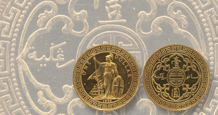 British Trade dollar in gold stars in Aug. 27 Hong Kong auction