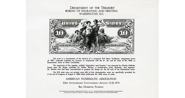 Series 1896 $10 silver certificate Educational note souvenir card