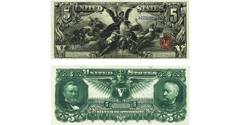 Series 1896 $5 silver certificate Educational note