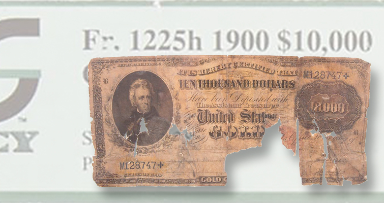 1900 10 000 gold certificate damaged by fire coin world