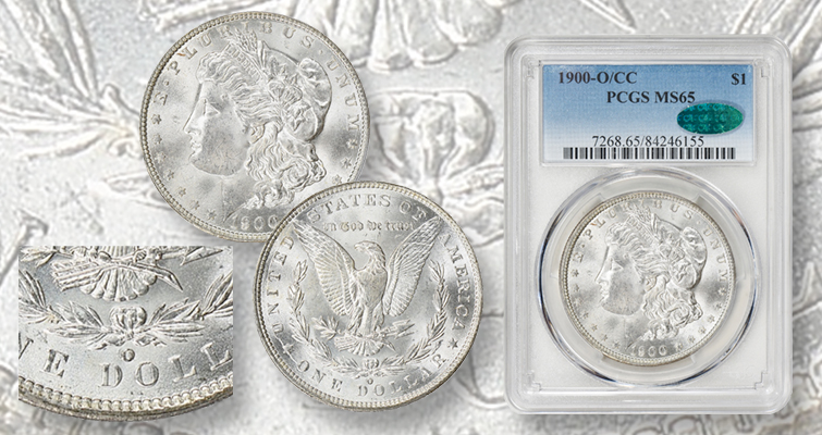 Untoned 1900-O/CC Morgan silver dollar graded MS-65
