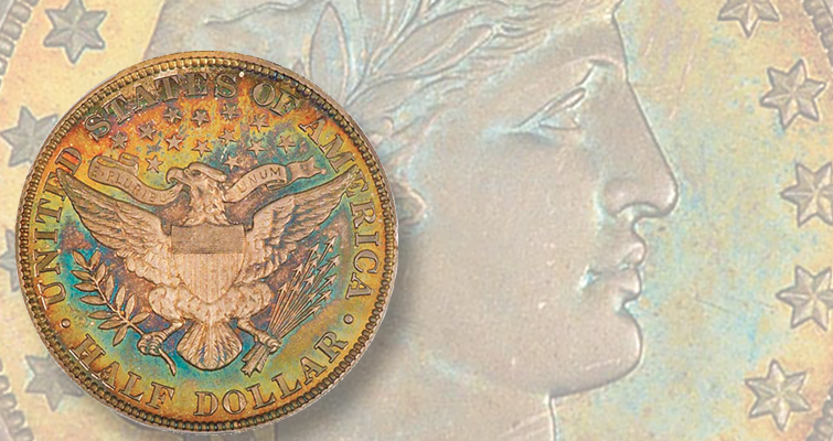 Proof Barber coins, including this 1900 half dollar, trading at relatively low prices