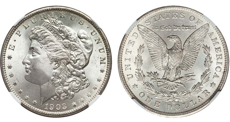 This 1903-O Morgan dollar, graded MS-67 by Numismatic Guaranty Corp., is offered online through Heritage Auctions.