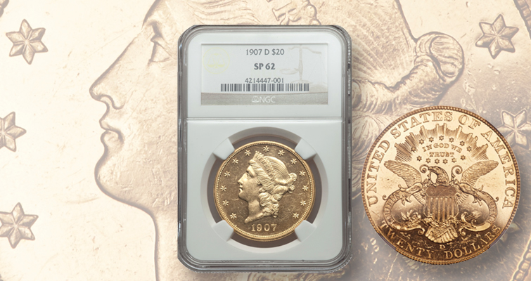 Flashy 1907-D Coronet gold double eagle with an interesting back story brings six-figure price