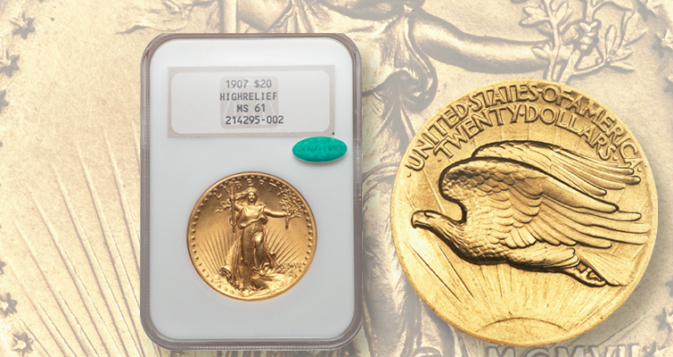 Mid-level 1907 Saint-Gaudens gold double eagle
