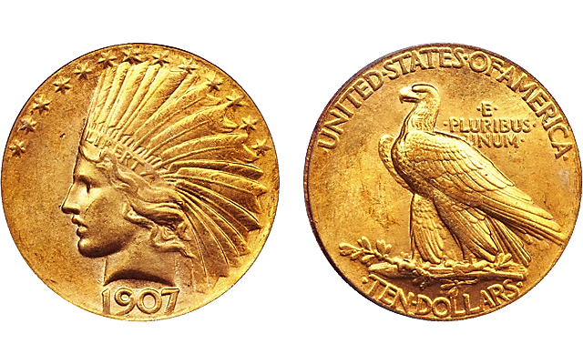 1907 Indian Head, Wire Rim, With Periods gold $10 eagle among Heritage Auctions' July 10 and 11 sale highlights