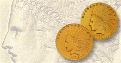 1908, 1910 and 1913 Indian Head gold eagles