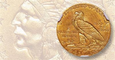 1910 Indian Head $2.50 quarter eagle
