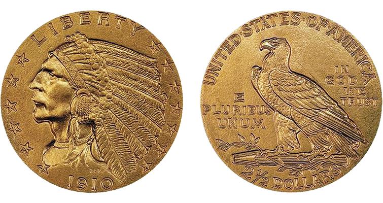 1910 Indian Head quarter eagle