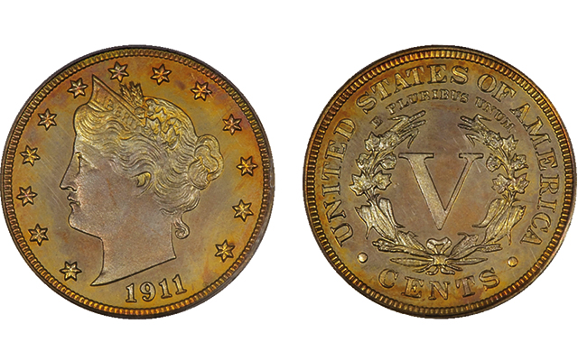Proof 1911 Liberty Head nickel with gold CAC sticker sells for $2,702 in recent auction