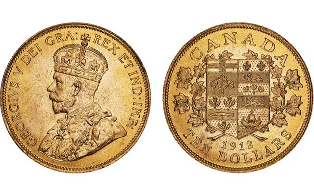 1912 Canadian gold $10 coin