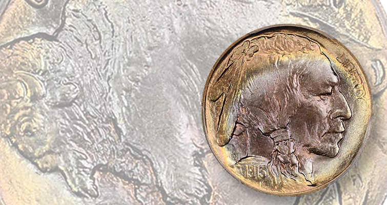 Whoa, the colors!' on this 1935-S 'Buffalo nickel' that