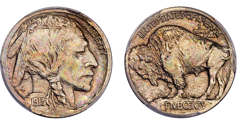 rare pattern 1913 Indian Head 5-cent piece