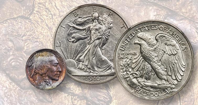 1913 nickel and 1916 half dollar