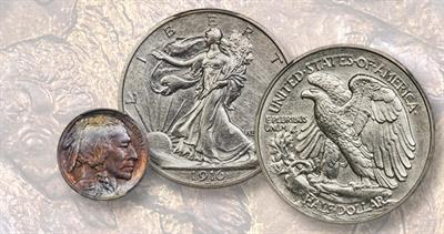 1913 nickel and 1916 half dollar