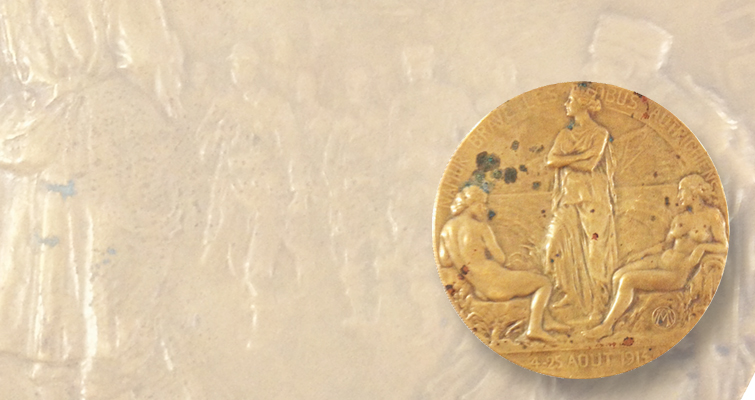 70-millimeter gilded-bronze medal captures invasion of Belgium during World War I