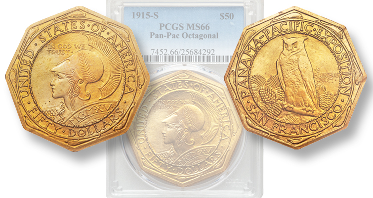 Classic Panama-Pacific International Expo gold coins in Heritage auction