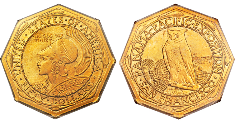 1915-S Panama-Pacific International Exposition gold $50 coin obverse and reverse