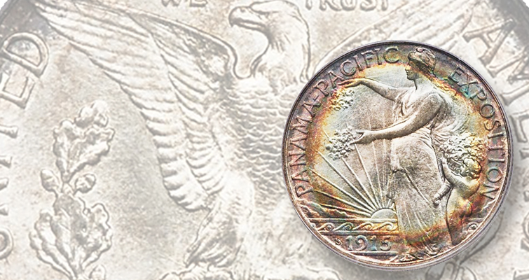 Toned Pan-Pac half dollar