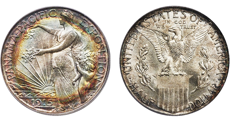 1915-S Panama-Pacific International Exposition half dollar obverse and reverse