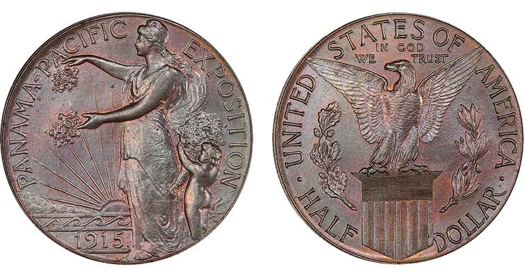 copper pattern 1915 Panama Pacific International Exposition commemorative half dollar