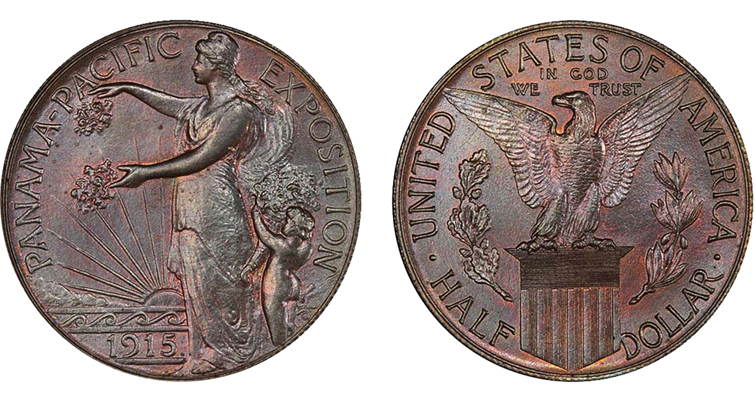 1915 Panama-Pacific International Exposition half dollar pattern struck in copper