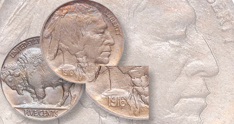 1916 Indian Head, Doubled Die Obverse 5-cent